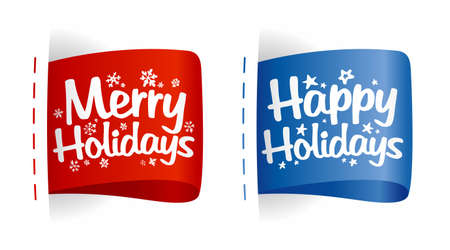 holiday message: Happy Holidays labels.