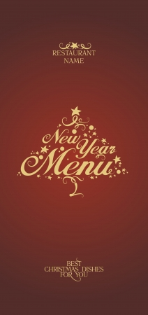 dl: New Year Menu Card Design template. Illustration