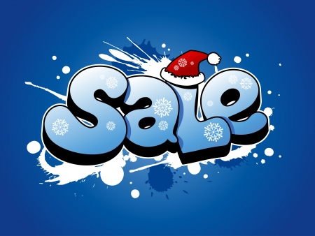 Christmas sale  illustration with snow splashes. Vector