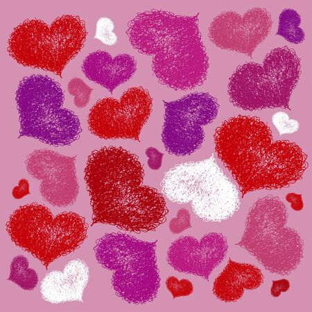 seamless background with coloured hearts Vector