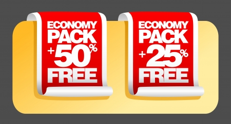 Economy pack labels set. Stock Vector - 16219100