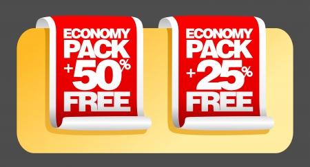 offer icon: Economy pack labels set. Illustration