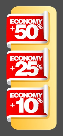 Economy labels set. Vector