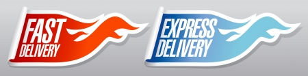 pizza delivery: Express delivery stickers set.