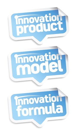 improved: Innovation products speech bubbles set.