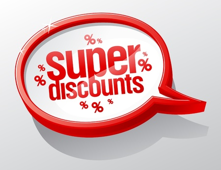 Super discounts shiny speech bubble.  Vector