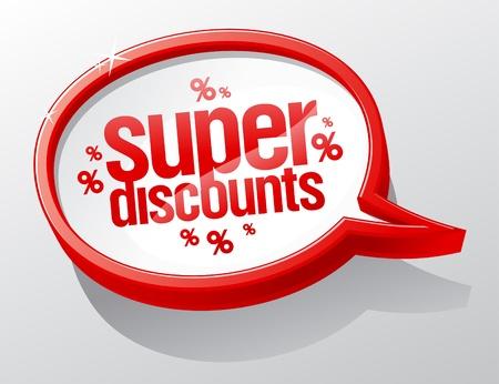 Super discounts shiny speech bubble. Stock Vector - 16219092