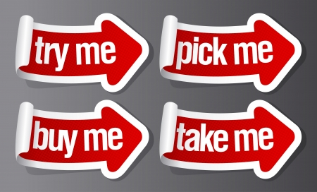 Pick me, buy me stickers in form of arrows. Stock Vector - 16219095