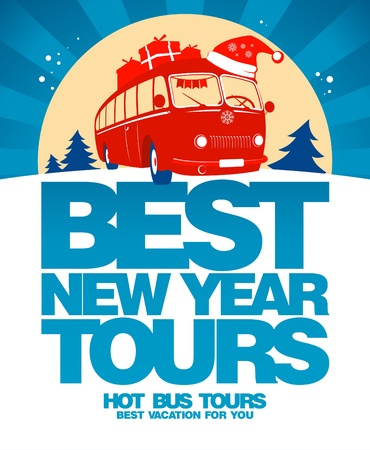 winter car: Best New Year tours design template.