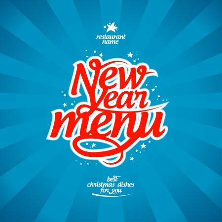 holiday food: New Year menu card design template.