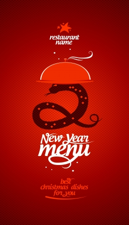 special events: New Year menu card design template.