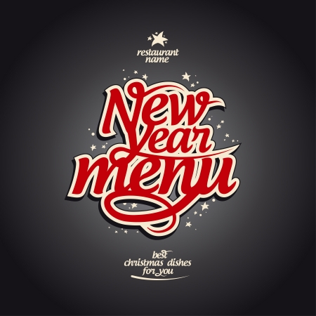 christmas dinner party: New Year menu card design template.