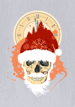 New Year design template with Santa's skull. Stock Vector - 16318288