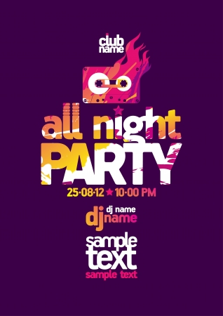 All Night Party design template with place for text  Vector