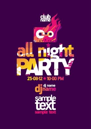 allen: All Night Party ontwerp sjabloon met plaats voor tekst