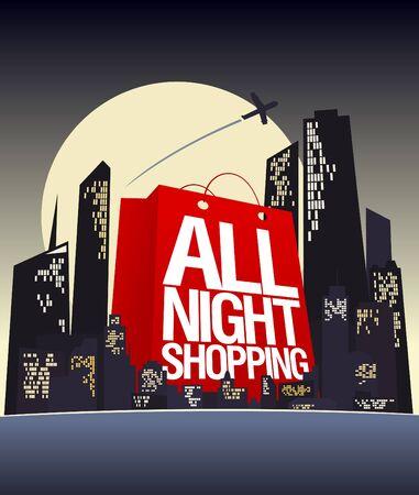 De hele nacht winkelen ontwerpsjabloon Vector Illustratie