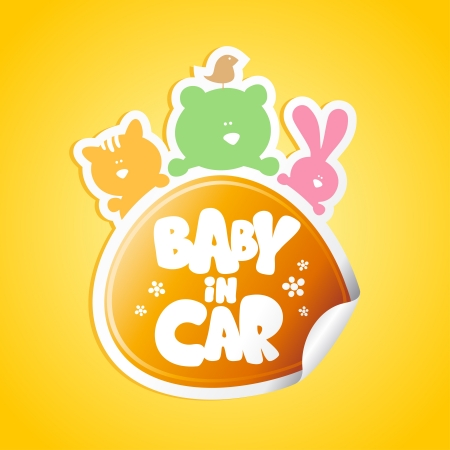 bebe a bordo: Bebé en etiqueta engomada del coche con animales divertidos Vectores