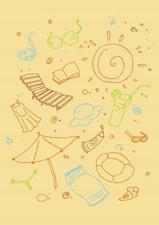 playa caricatura: Illustraition de los s�mbolos de la playa de dibujos animados, dise�o dibujado a mano set Vectores