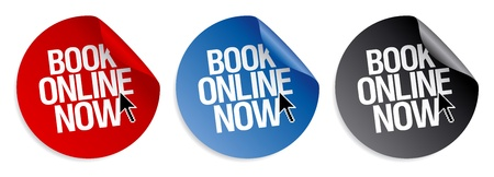 sales book: Book online now stickers set