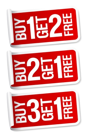 Buy things and get one free, promotional sale stickers  Vector