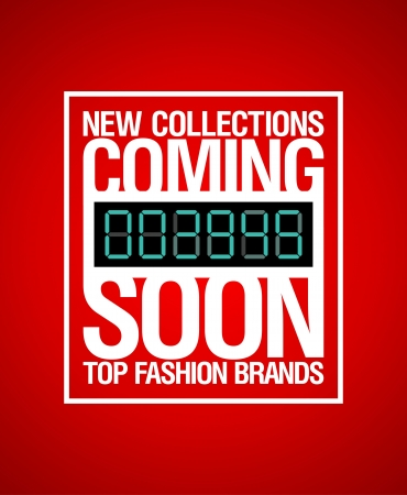 New collections, coming soon design template  Vector