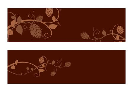 Stylized hop flowers composition, banner set  Vector
