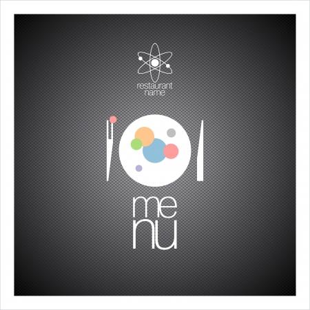 molecula: Men� del restaurante de dise�o de tarjetas plantilla de la gastronom�a molecular.