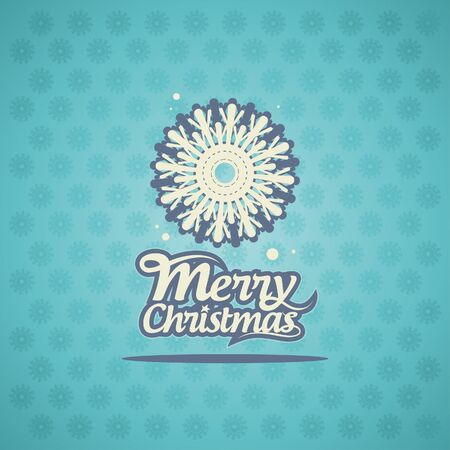 Retro Christmas card with snowflake. Vector