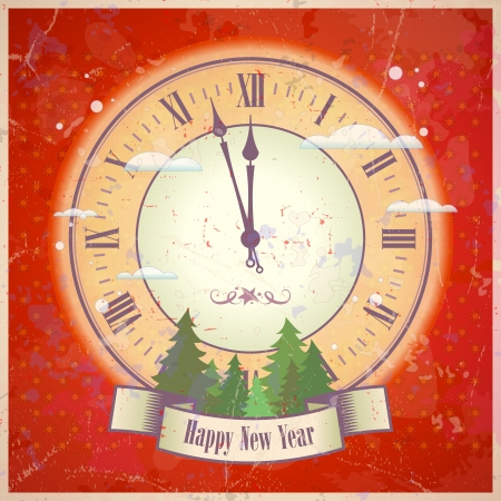 watch new year: Retro New Year card with clock. .