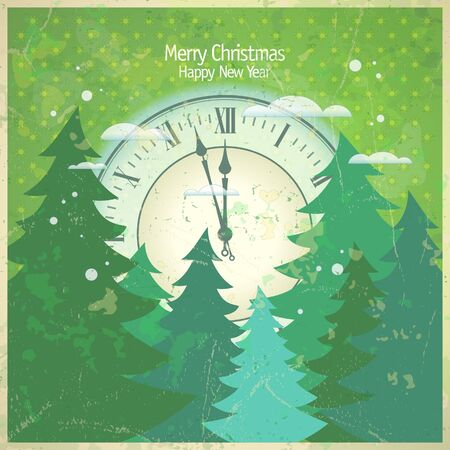 Retro New Year card with clock.  Stock Vector - 16527949