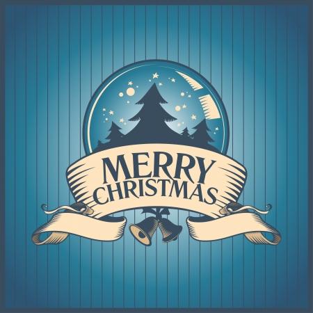 Christmas card with snow globe. Stock Vector - 16527824
