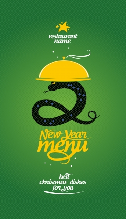 new years eve dinner: New Year menu card design template.