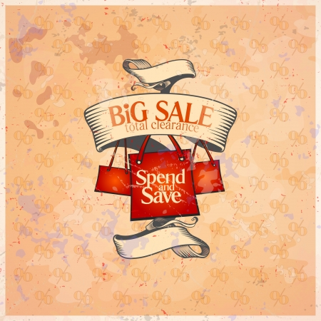 clothing tag: Big sale retro design template with shopping bags.