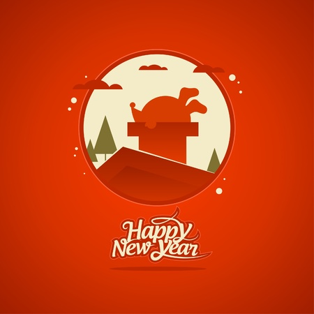 New Year card with Santa Claus stuck in a chimney. Stock Vector - 16527806