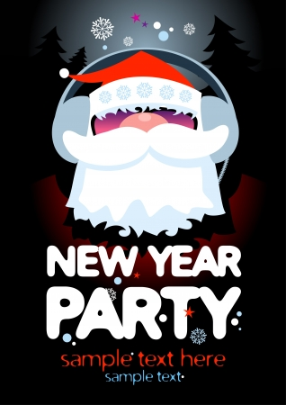 New Year Party design template with Santa and place for text. Stock Vector - 16527933