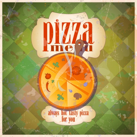 pizza place: Retro pizza menu card design template.