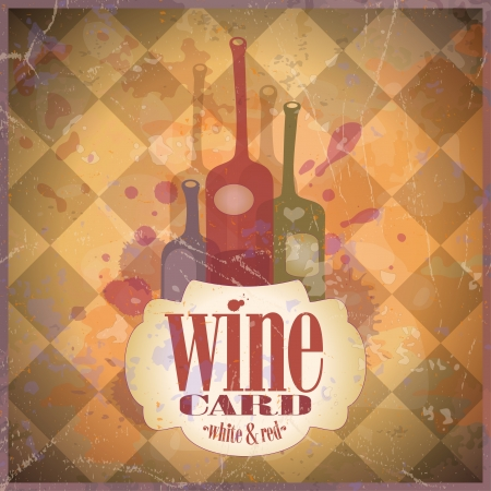 gourmet meal: Wine Card design template, retro style.  Illustration