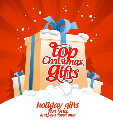 Top Christmas gifts design template Stock Vector - 16527991