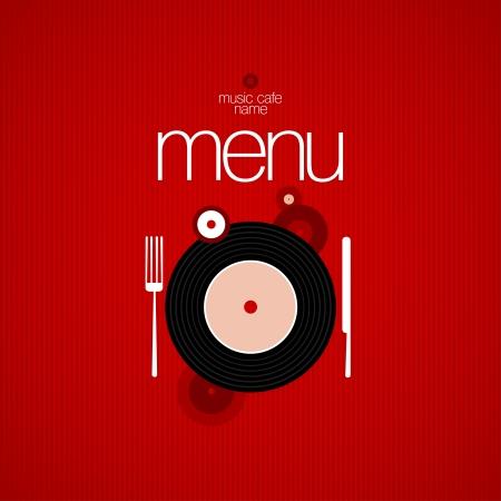 vinyl: Music Cafe Menu Card Design template