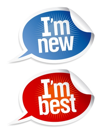 best products: New best products stickers set in form of speech bubbles