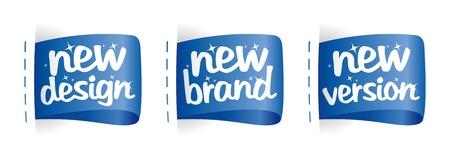 버전: 새로운 브랜드, 디자인, 버전 레이블이 설정 일러스트