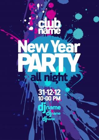 invitación a fiesta: Partido del Año Nuevo diseño de la plantilla Vectores