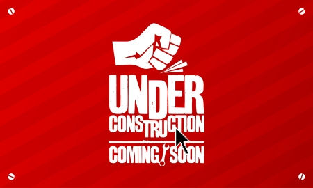closed fist sign: Under construction design template