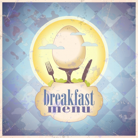 Retro breakfast menu card design template   Vector