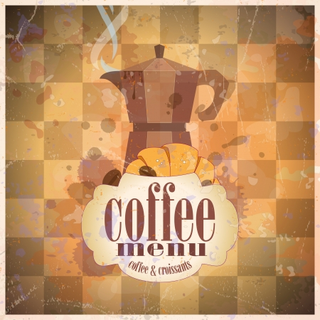 Retro coffee menu card design template