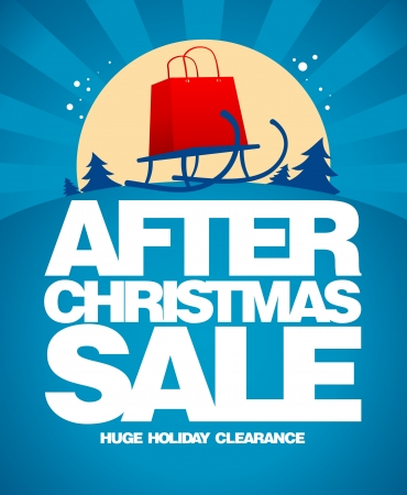 After christmas sale design template with shopping bag on a sled. Vector