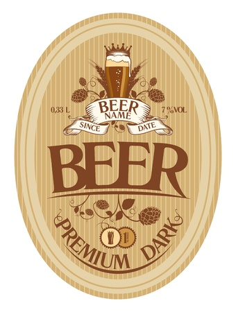 mug of ale: Beer label design template  Illustration