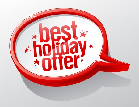 discount banner: Best holiday offer shiny speech bubble