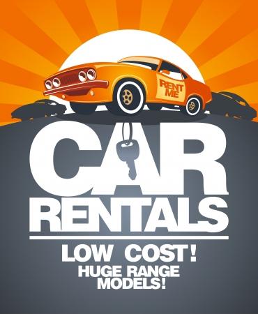 auto sign: Alquiler de coches plantilla de dise�o con el coche retro