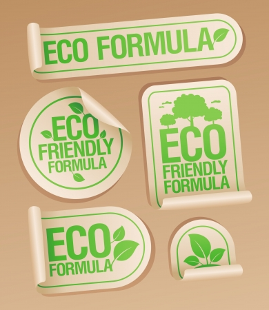Eco Friendly Formula stickers set  Stock Vector - 16680730